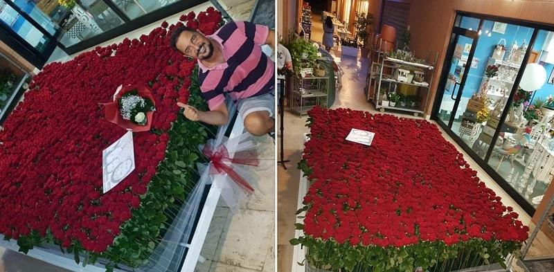 Dichiarazione con 1250 rose rosse: una per ogni giorno d'amore!