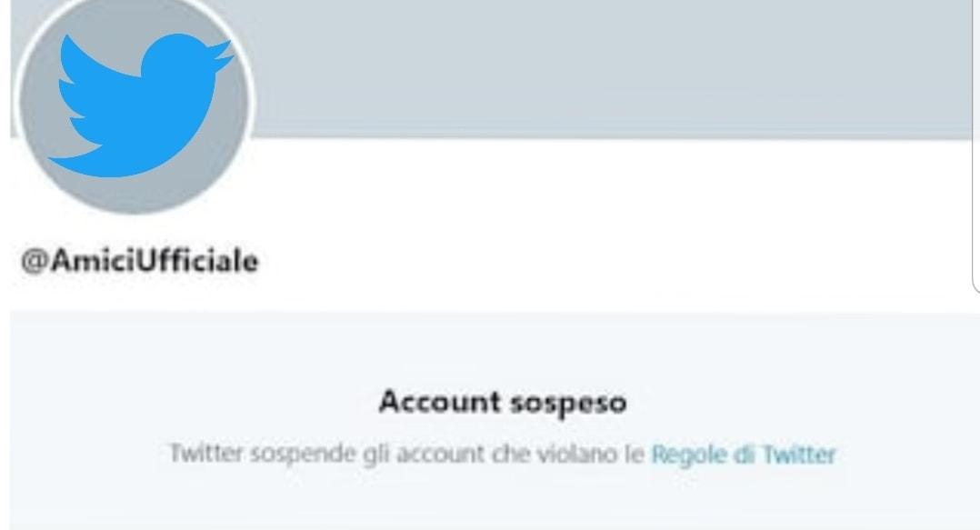 Twitter: chiuso l'account ufficiale di Amici