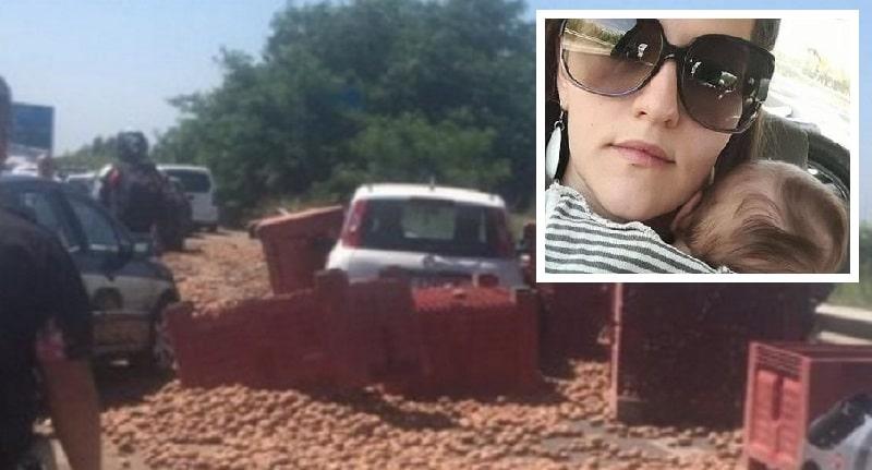 Camion perde carico con quintali di patate, Imma muore schiacciata: lascia un bimbo di 2 anni