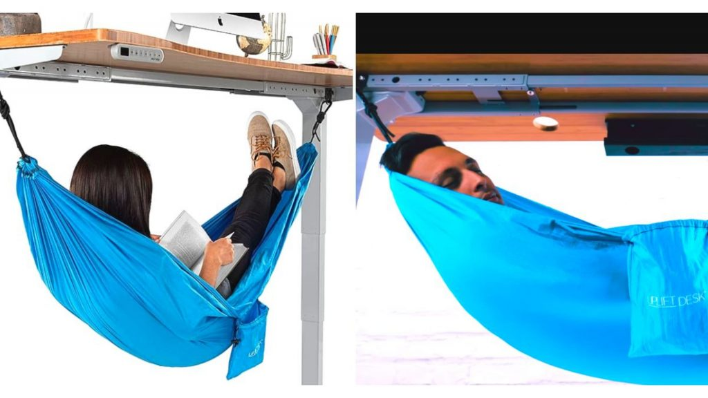 Questa amaca sotto la scrivania ti consente di fare un pisolino a lavoro