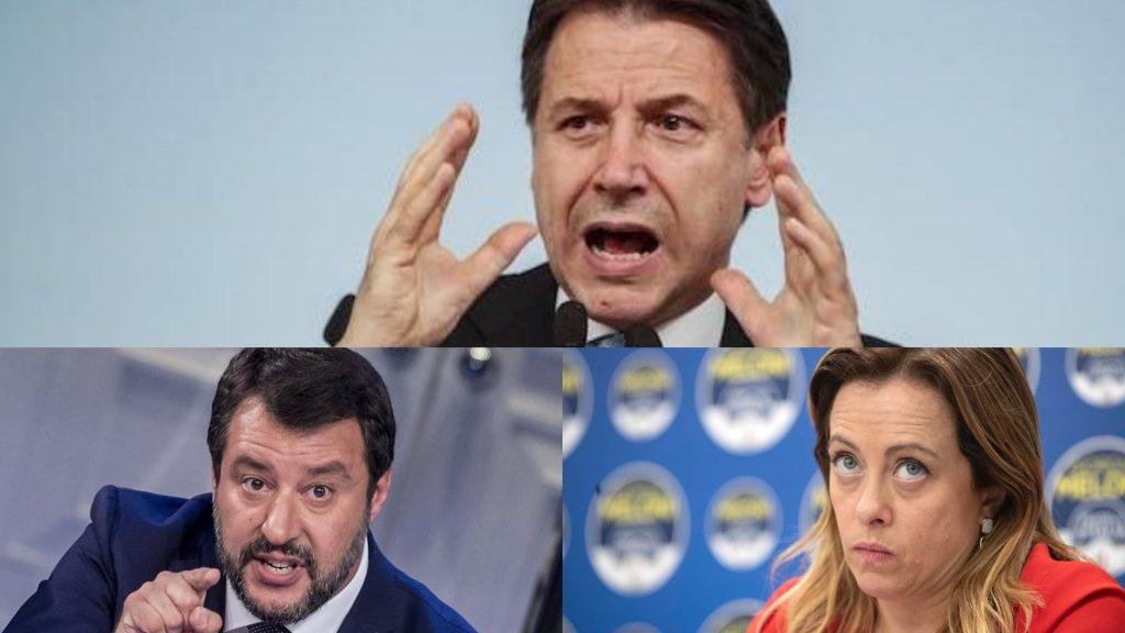 Il duro attacco in diretta di Conte a Salvini e Meloni: vola
