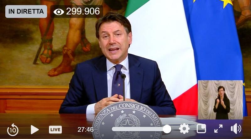 Nuovo Dpcm |  il Premier Conte in diretta