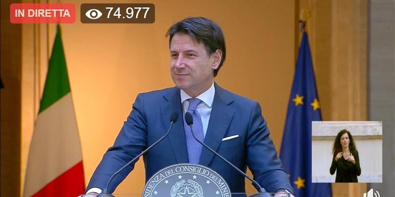Il Presidente Giuseppe Conte in diretta  per parlare agli Italiani