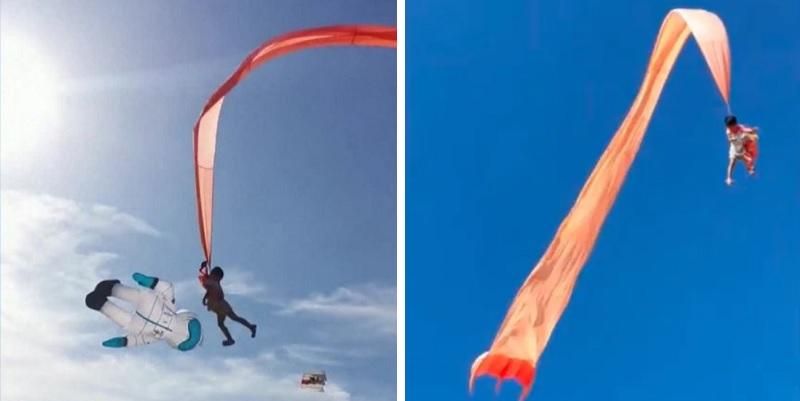Bimba di 3 anni rimane incastrata nell'aquilone e vola via nel cielo: il Video