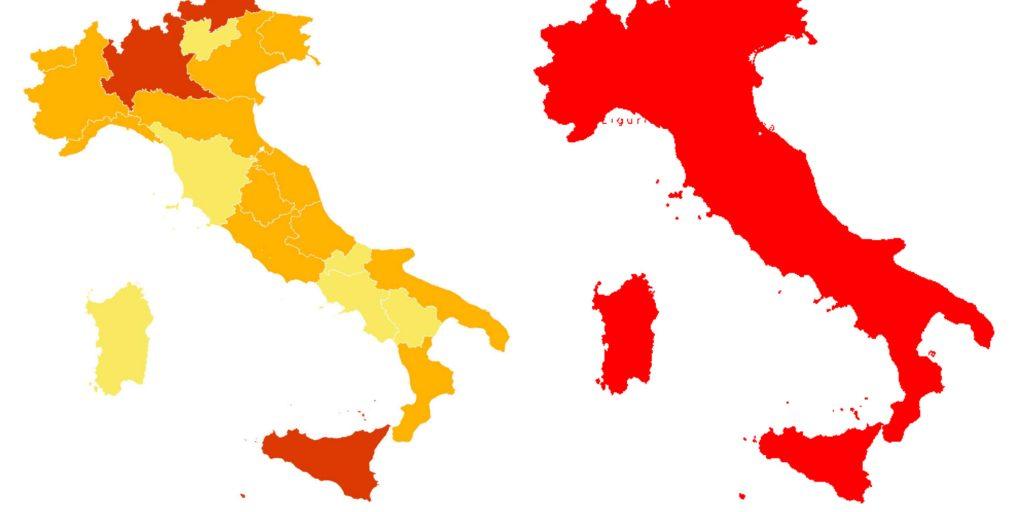 Molte Regioni da domenica cambieranno colore. Ecco quali