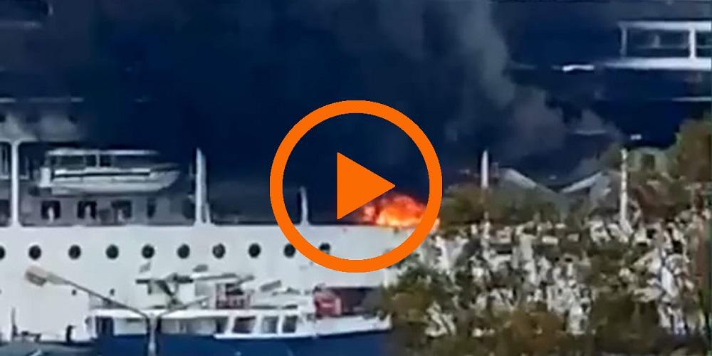 Nave MSC LIRICA in fiamme, vigili del fuoco sul posto (Video)